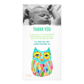 Thank You Note Baby Owl Photo Card Template
