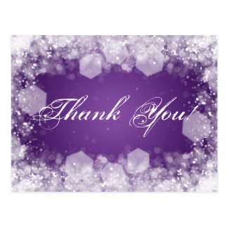 Thank You Note Baby Shower Night Sparkle Purple Postcards
