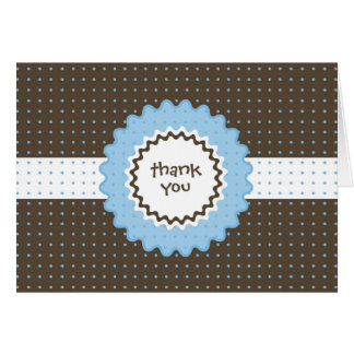 Thank You Note - Blue and Brown Stationery Note Card