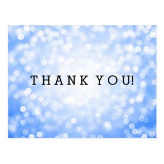Thank You Note Blue Glitter Lights Postcard