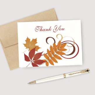 Thank You Note Card | Autumn Falling Leaves card