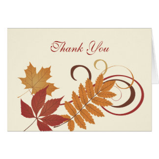 Thank You Note Card   Autumn Falling Leaves