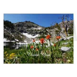 Thank You Note Card, Blank, Wildflowers Mountains Card