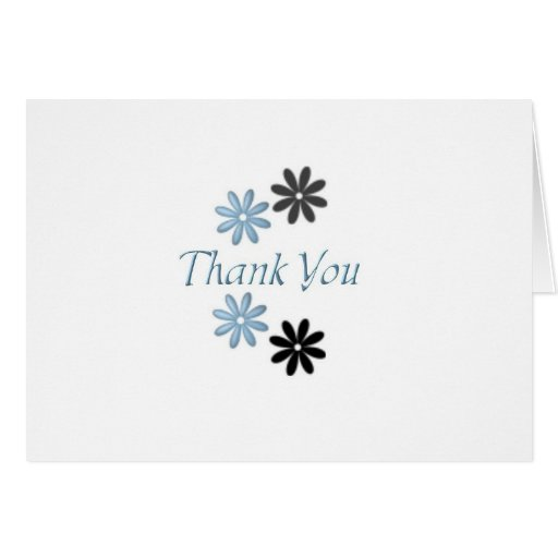 Thank You Note Card - Blue And Black Daisies