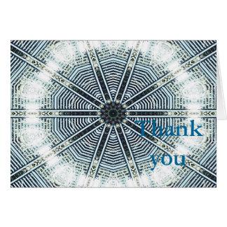 Thank You Note Card Blue White Kaleidoscope
