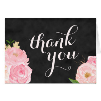 thank you note card | chalkboard with pink flowers