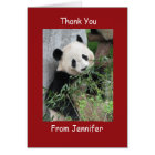 Thank You Note Card, Giant Panda, Custom Red Card