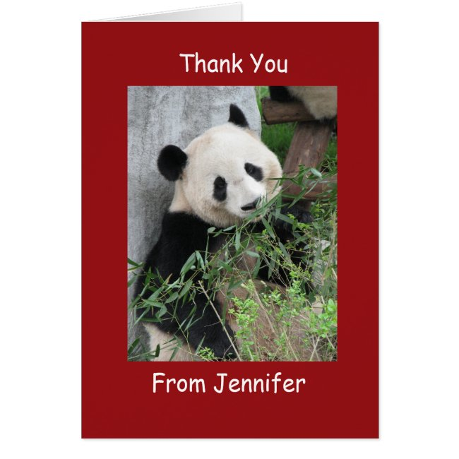 Thank You Note Card, Giant Panda, Custom Red