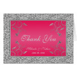 Thank You Note Card | Hot Pink, Silver Foil Look