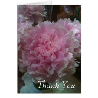 thank you note card with pink peony photograph