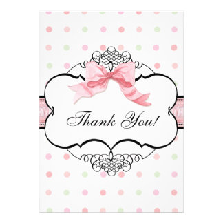 Thank You Note Cards - French Bow Dot Swirl vs2 Announcement