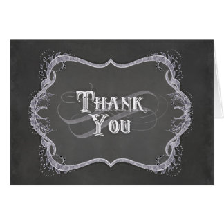 Thank You Note - Chalkboard Typographic Leaf Swirl Card