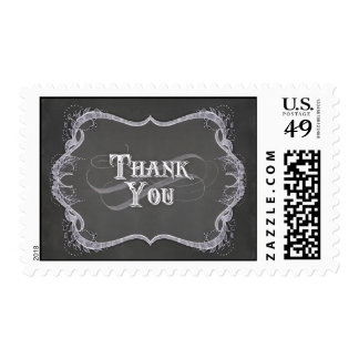 Thank You Note - Chalkboard Typographic Leaf Swirl Postage Stamp
