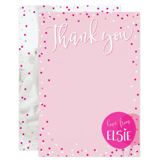 THANK YOU NOTE cute pink balloons confetti Card