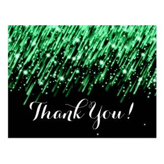 "Thank You Note Falling Stars ""Emerald Green"" Postcard"