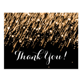 Thank You Note Falling Stars Gold Postcard