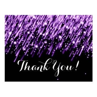 Thank You Note Falling Stars Purple Postcard