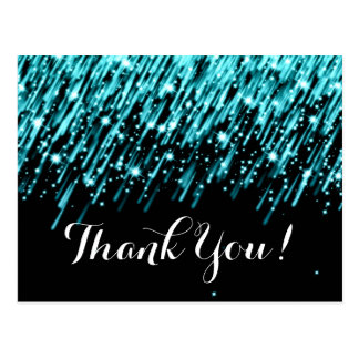 Thank You Note Falling Stars Turquoise Postcard