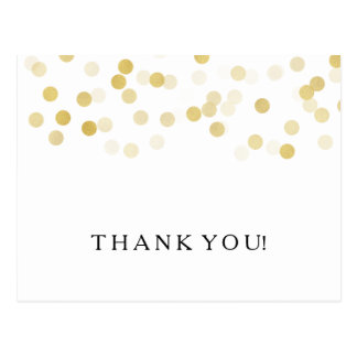 Thank You Note Faux Gold Foil Glitter Lights Postcard