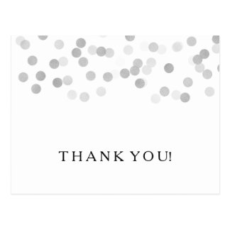 Thank You Note Faux Silver Foil Glitter Lights Postcard