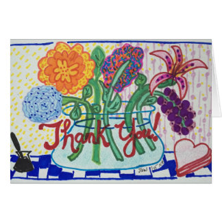 THANK YOU NOTE FLOWERS,Impressionist Style Card