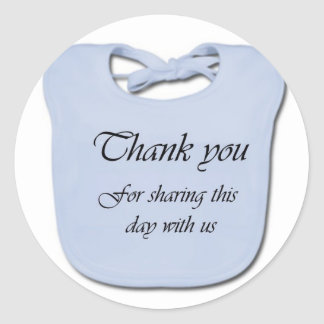 Thank you note for baby showers - blue classic round sticker