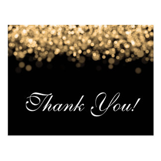Thank You Note Gold Lights Postcard