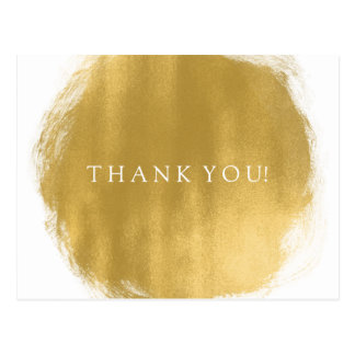 Thank You Note Gold Paint Look Postcard