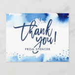 """THANK YOU NOTE hand lettered navy blue watercolor Invitation<br><div class=""""desc"""">by kat massard >>> kat@simplysweetPAPERIE.com <<< A simple, stylish way to say thank you to your guest's for attending your child's BAR MITZVAH Setup as a template it is simple for you to add your own details, or hit the customise button and you can add or change text, fonts, sizes...</div>"""