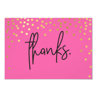 THANK YOU NOTE handwritten gold confetti spots Card