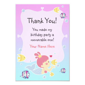 Thank You Note - Mermaid Theme Birthday Party 3.5x5 Paper Invitation Card