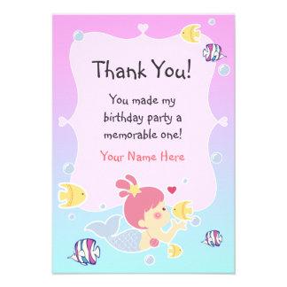 Thank You Note - Mermaid Theme Birthday Party Custom Invites