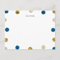 Thank You Note, Navy Blue and Gold Glitter