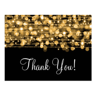 Thank You Note Party Sparkles Gold Postcard