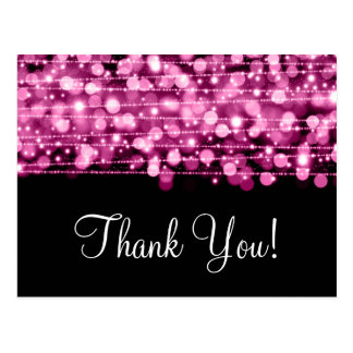 Thank You Note Party Sparkles Pink Postcards