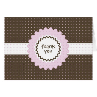 Thank You Note - Pink and Brown Stationery Note Card