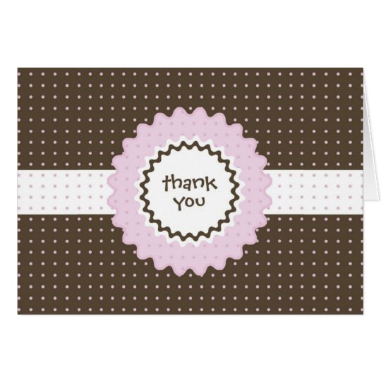 Thank You Note - Pink and Brown Card