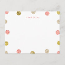 Thank You Note, Pink and Gold Glitter Note Card