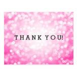 Thank You Note Pink Glitter Lights Postcard