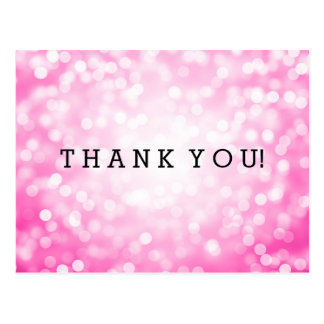 Thank You Note Pink Glitter Lights Post Cards