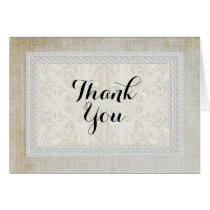 Thank You Note Rustic Lace w Aged Vintage Linen Card