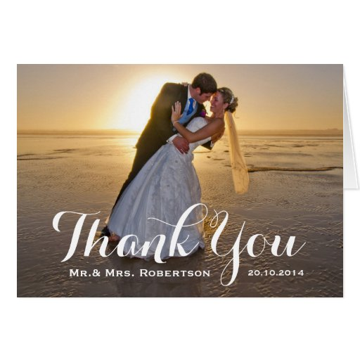 thank you note simple wedding photo card zazzle