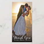 """Thank You Note   Simple Wedding Photo Template<br><div class=""""desc"""">Thank You Note   Simple Wedding Photo Template Photo Card Vertical Design. Send out your wedding thank you message as newly weds to your friends and family using this simple, elegant, memorable thank you wedding photo flat card with your wedding photo and the words &quot;thank you&quot; written in a white...</div>"""