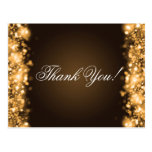 Thank You Note Sparkling Lights Gold Postcard