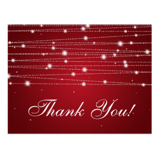 Thank You Note Sparkling Lines Red Postcard
