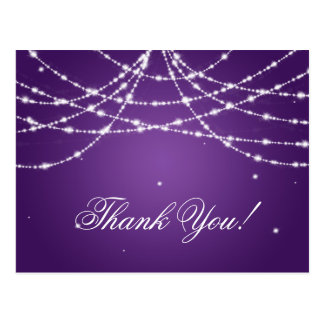 Thank You Note Sparkling String Purple Postcard