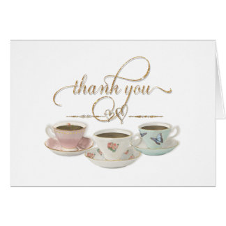 Thank You Note Stationery Bridal Shower Tea Party Card