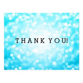Thank You Note Turquoise Glitter Lights Postcard