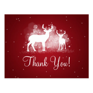 Thank You Note Winter Deer Sparkle Red Postcard