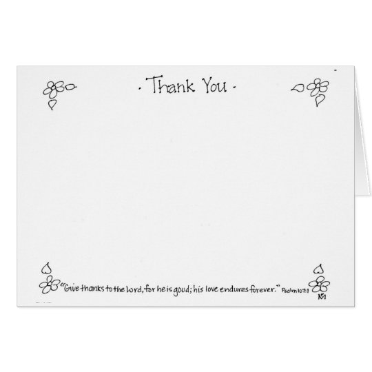 Thank You Notecard in black and white